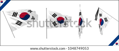 Set of South Korea state waving flags in solemn style. Vector illustration.