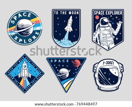 Set of space and astronaut , patches, emblems, badges and labels.