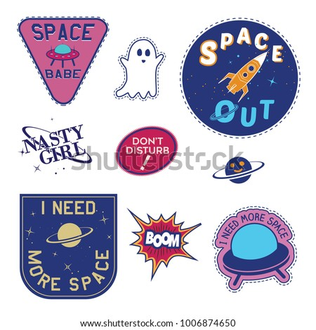 Set of Space  Badge and Patch typography, Embroidery Rocket, Spaceship planet With Slogan Badges, Pins, Patches slogan T-shirt and apparels print graphic vector typography slogan tee