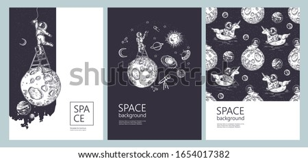 Set of space banners. Astronaut swim on swimming circle of a unicorn in the space. An astronaut stands on a stepladder and draws stars. Astronaut is screwing a light bulb. Pug astronaut.