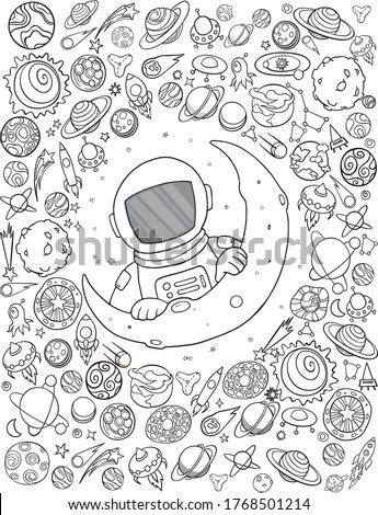 Set of space elements. Astronaut, Earth, saturn, moon, UFO, rocket, comet, constellation, sputnik and stars. Black and white illustration for coloring book.
