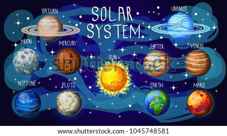 Set of space elements, our solar system, planetes. Earth, moon, mars, uranus, pluto, mercury, saturn, jupiter, sun, venus #1045748581
