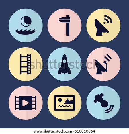 set of 9 space filled icons