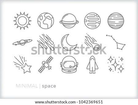 Set of 15 space icons of items found in our solar system including planets, sun, satellite, shuttle, meteor, asteroid, stars and moon