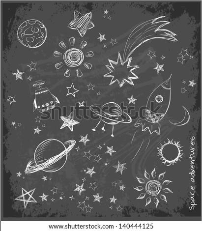 Set of space objects sketch on black chalkboard. Vector illustration.
