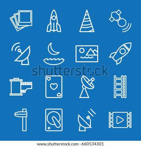 set of 16 space outline icons