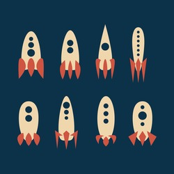 set of space rockets. minimalism. 2d vector.