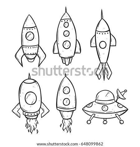 set of space rockets using hand drawing style
