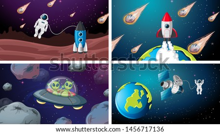 Set of space ship and astronaut scene illustration