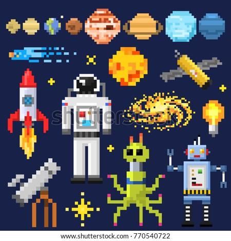 set of space stars  alien
