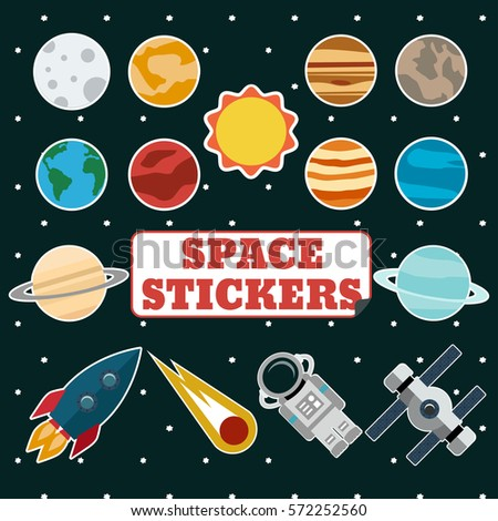 set of space stickers with sun  ...