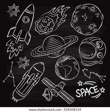 set of space themed doodle on