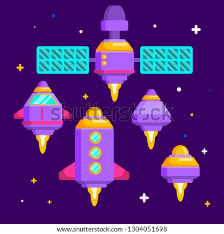 Set of spacecrafts, different starships, satellite, rocket. Vector flat style illustration isolated on starry sky background