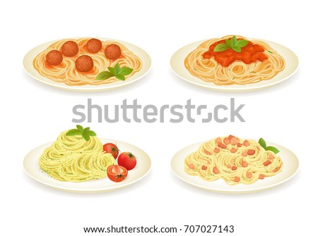 set of spaghetti dishes