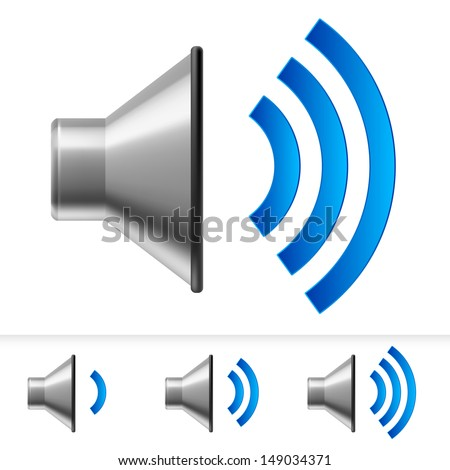 Set of speaker icons with different volume levels. Illustration on white background
