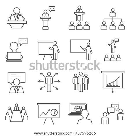 Set of Speaker Related Vector Line Icons. Includes such Icons as presentation, training, meeting, business and etc.