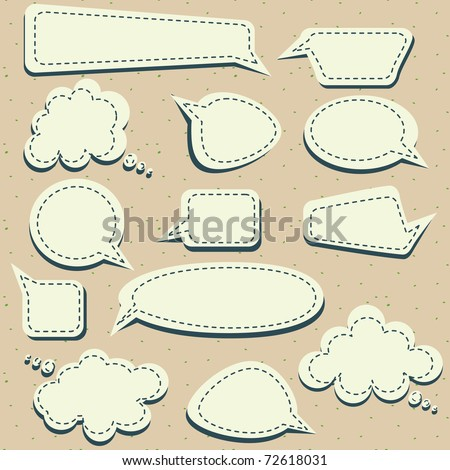 set of speech and thought blobs, vector