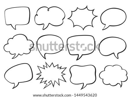Set of speech bubbles. Empty cloud of comics book dialog space. Vector illustration.