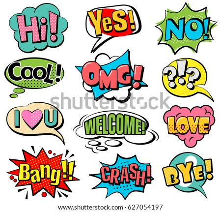 Set of speech bubbles in retro style. Vector illustration isolated on white background.
