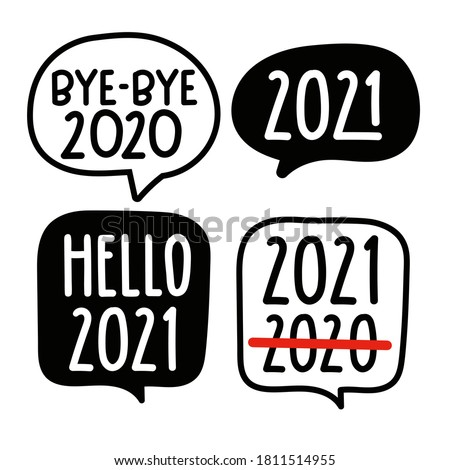 Set of speech bubbles. New year 2021 concept. Hand drawn vector illustration on white background.