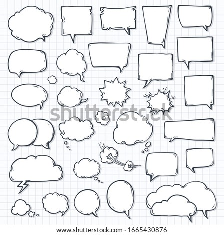 set of speech bubbles on notepad sheet paper with shadow. doodle or cartoon, sketch drawing call-outs set, communication design elements