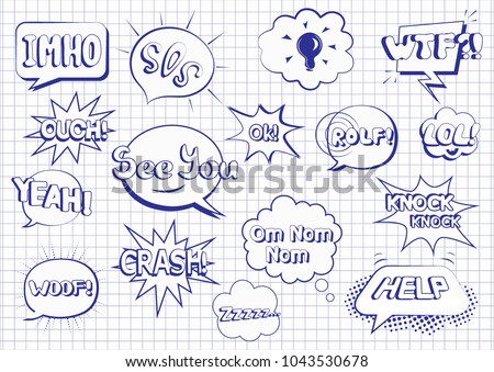Set of speech bubbles. Pop art objects. Coloring pages.Om Nom Nom. Zzzzz... Knock Knock. LOL! IMHO. Ok! SOS! Help! Woof! Ouch! See you! WTF?! ROLF! Yeah! Crash! Eureka! Vector illustration.