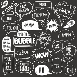 Set of speech bubbles related objects and elements. Hand drawn vector doodle illustration collection in Blackboard chalk style. Grouped with text easily removed.