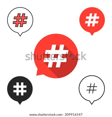set of speech bubbles with hashtag icon. concept of number sign, social media, micro blogging, pr, popularity. isolated on white background. flat style trend modern logotype design vector illustration
