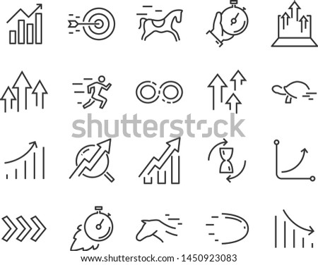 set of speed icons, such as fast, sending, accelerate, rising