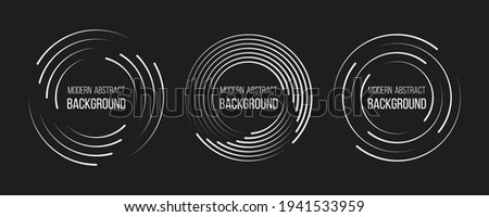 Set of speed lines in circle form. Radial speed Lines in Circle Form for comic books. Technology round Logo. Black thick halftone dotted speed lines.