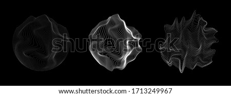 Set of spheres made of particles and wavy lines, fluid geometric shapes. Technology and science abstract illustration.