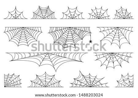 Set of spider web for Halloween. Halloween cobweb, frames and borders, scary elements for decoration. Hand drawn spider web or cobweb with hanging spider. Vector
