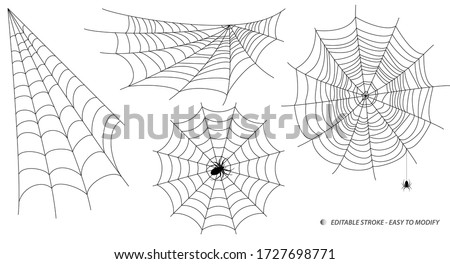 set of spider web or spider home insect or small spider in the web concept. editable stroke - eps 10 vector,  Photo stock ©