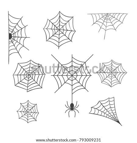 Set of Spider Web Vector Illustration
