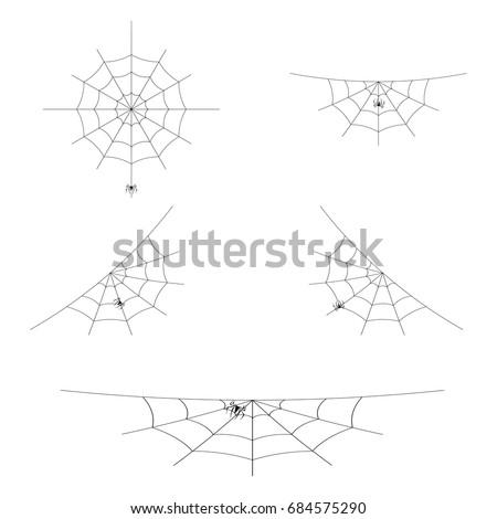 Set of spider webs or cobwebs for Halloween design. Element of decoration. Isolated on white background. Vector illustration.