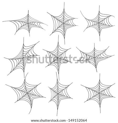 set of spiderweb black isolated