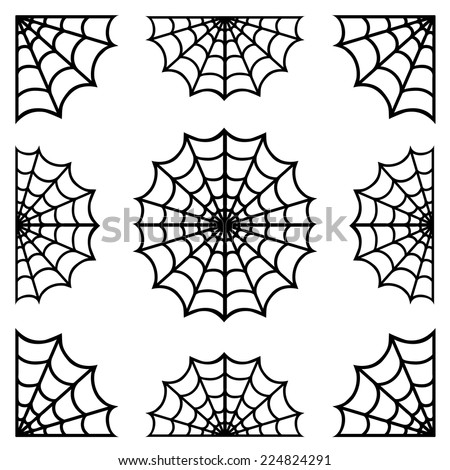 set of spiderweb black isolated on white background.black spider web halloween.vector