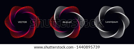 Set of Spiral Dotted Graphic Elements in Red Tones. Geometric Vector Frames on Black Background.