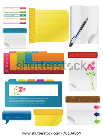 Set Of Spiral Notebooks With Colored Tabs And Lined Pages, With Colorful Pens