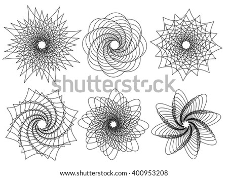 set of 6 spirally  rotating
