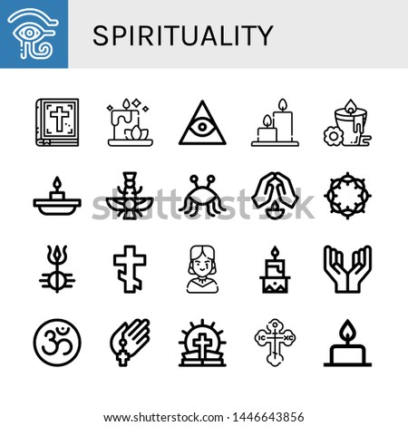 Set of spirituality icons such as Eye of ra, Bible, Candle, Freemasonry, Candles, Faravahar, Pastafarianism, Prayer, Crown of thorns, Shiva, Orthodox cross, Gothic , spirituality