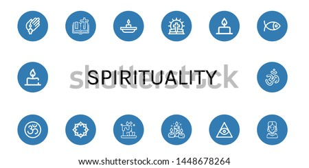Set of spirituality icons such as Prayer, Bible, Candle, Christianity, Om, Crown of thorns, Candles, Freemasonry, Gothic , spirituality