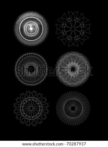 Set of spirograph for design