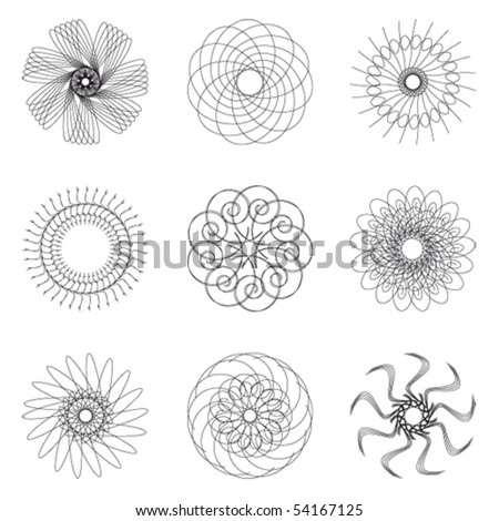 Set of spirograph for design (9 elements) - vector illustration