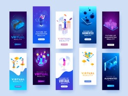 Set of splash screen mockups for virtual or augmented reality concept.