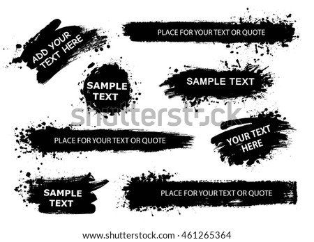 Set of Splatter Hand Drawn Paint Texture . Black Spray Blot of Ink and brush strokes. Place for text. Artistic banner.