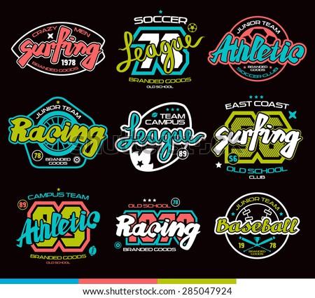 set of sport badges  surfing