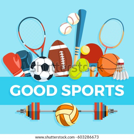 Set of sport balls and gaming items at a blue background. Healthy lifestyle tools, elements. Inscription GOOD SPORTS. Vector Illustration.