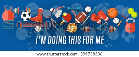 Set of sport balls and gaming items at a blue background. Healthy lifestyle tools, elements. Vector Illustration
