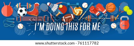 Set of sport balls and gaming items at a blue background. Healthy lifestyle tools, elements. Vector Illustration.